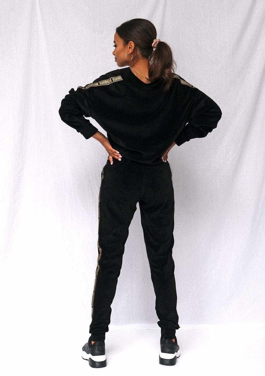 Spodnie z weluru gold logo stripe czarne
