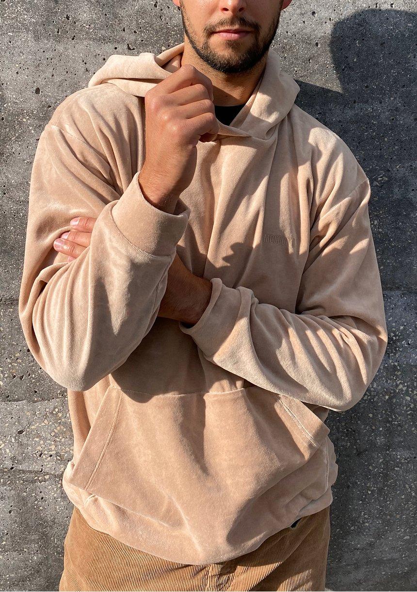 Welurowa bluza z kapturem unisex ILM beżowa