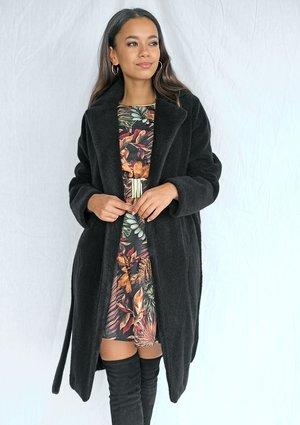 Klasyczny płaszcz wiązany w talii Czarny