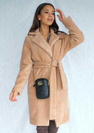 Klasyczny płaszcz wiązany w talii Beżowy