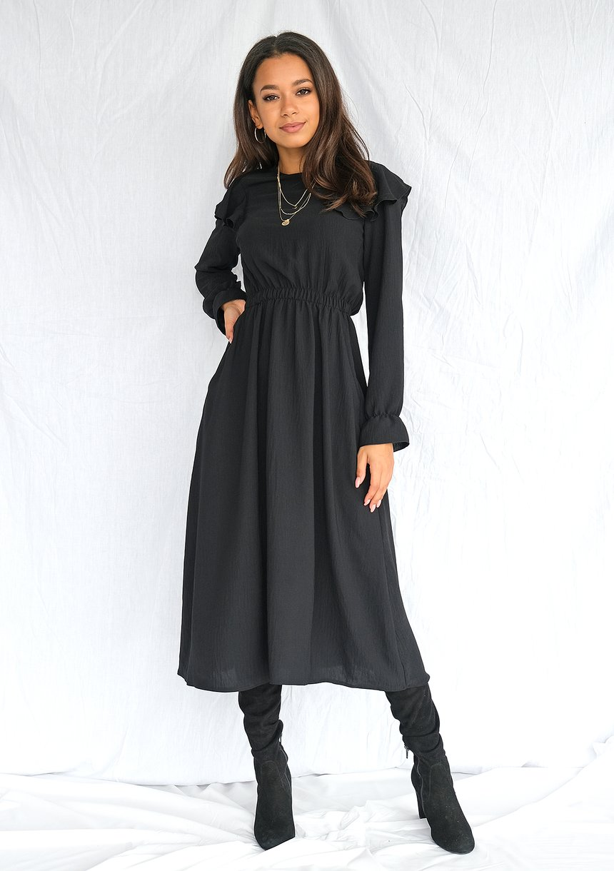 Sukienka midi z falbanami Czarna