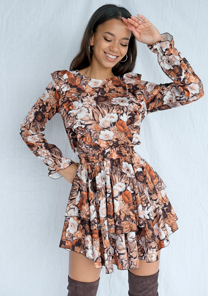 Sukienka mini z falbanami w kwiaty Brown