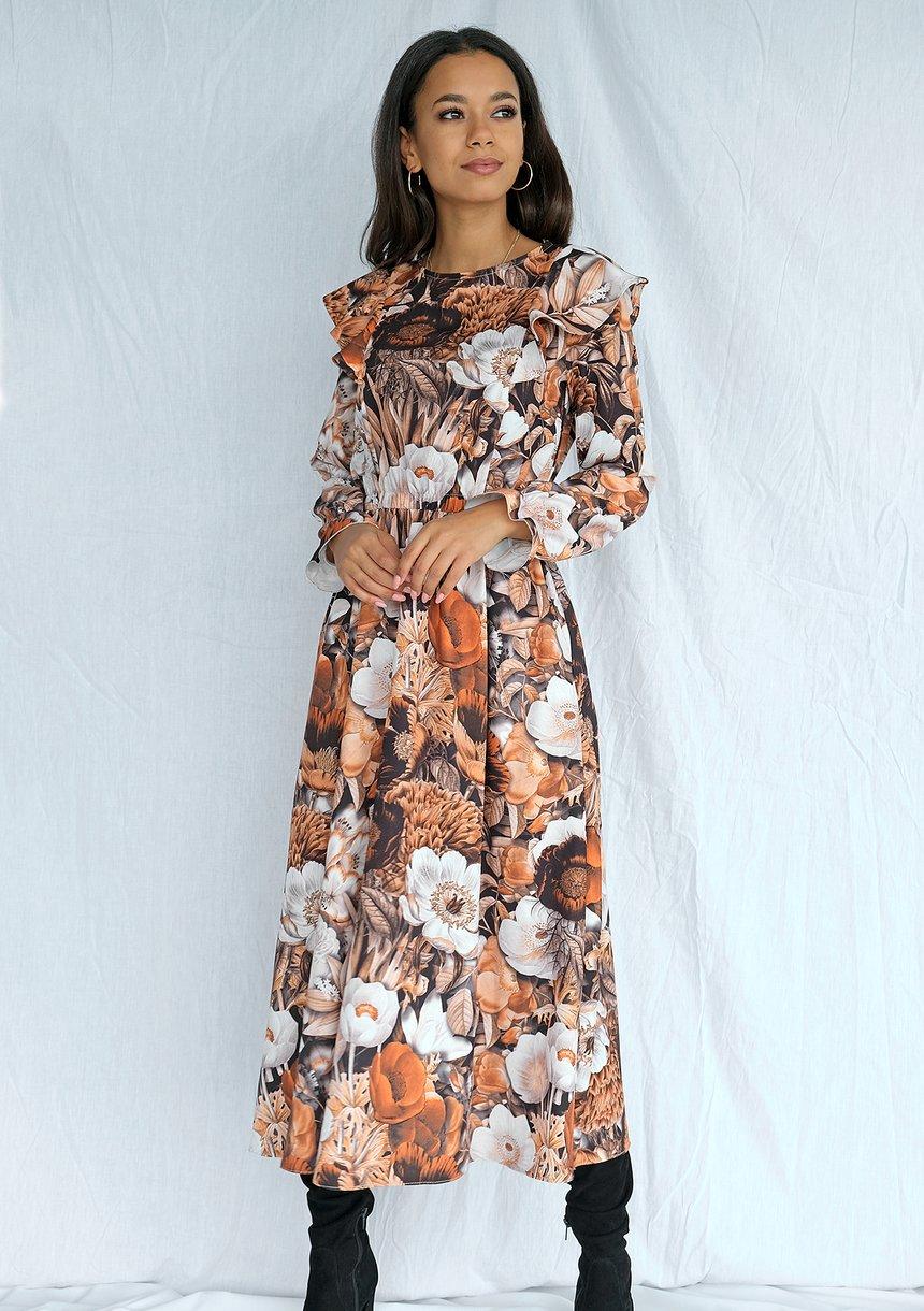 Sukienka midi w kwiaty Brown