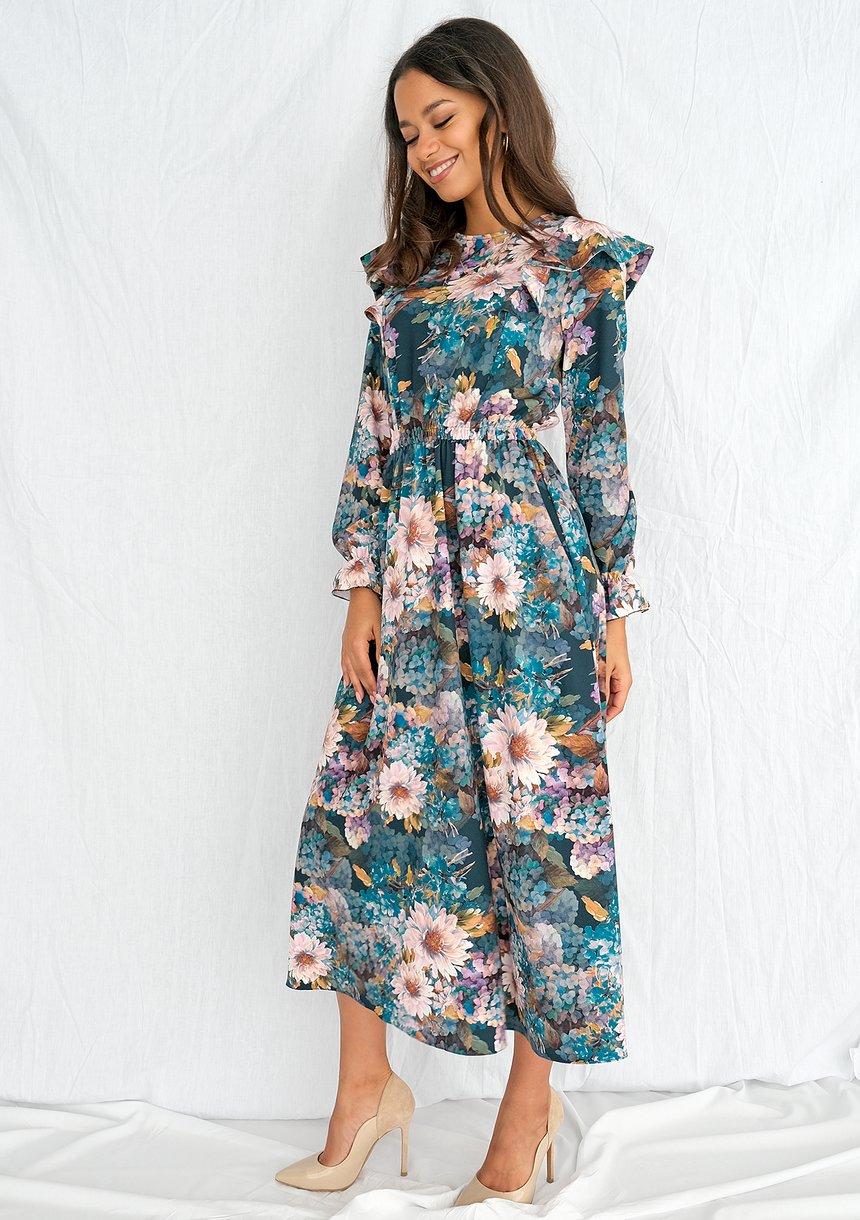 Sukienka midi Aquarelle Flowers