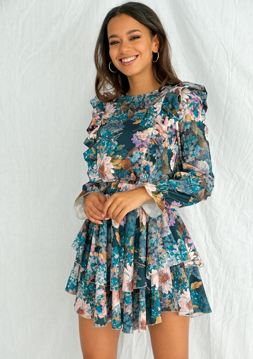 Sukienka mini z falbanami Aquarelle Flowers