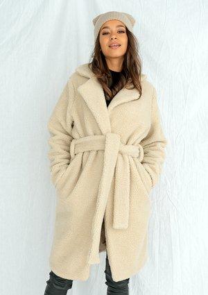 Płaszcz ze sztucznego baranka Beżowy