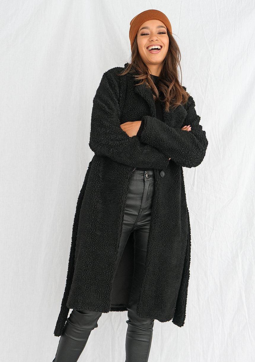 Płaszcz ze sztucznego baranka Czarny