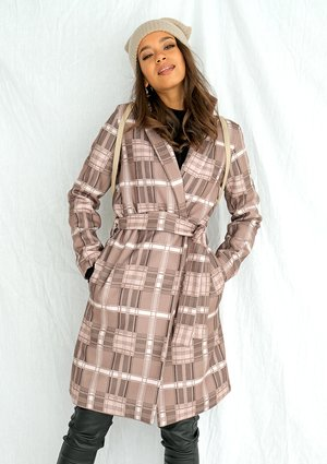 Beige check print coat