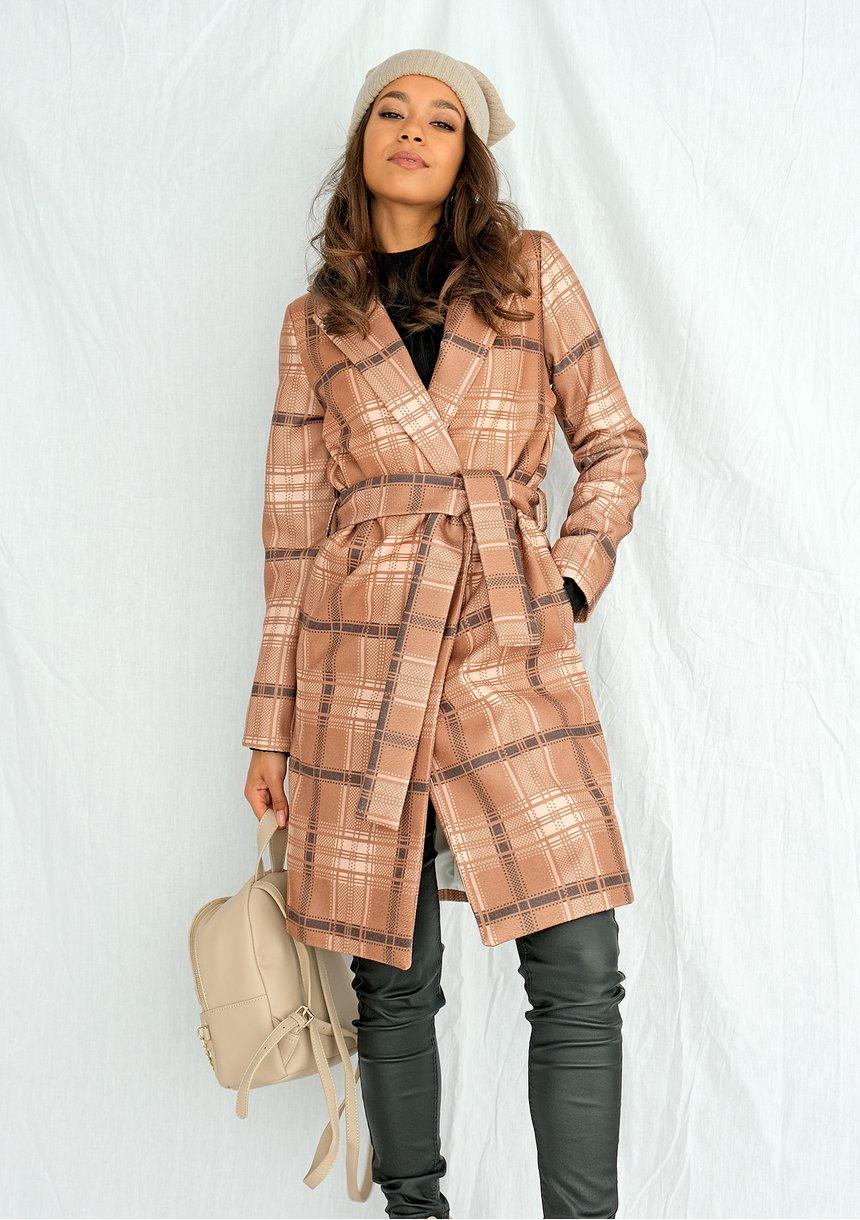 Płaszcz z flauszu drukowany w kratę Miodowy
