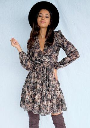 Kopertowa sukienka z szyfonu Brown print