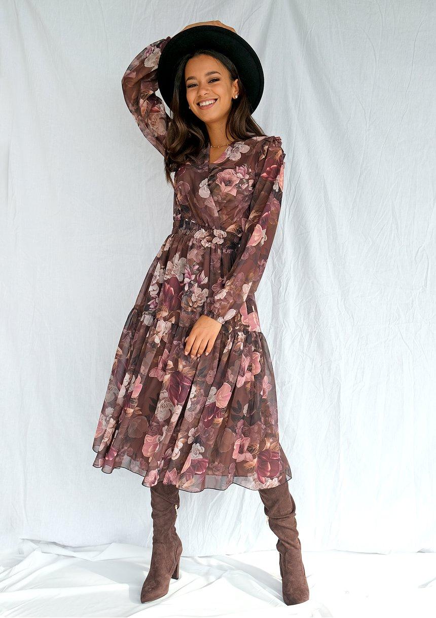Szyfonowa sukienka midi w kwiaty Brązowa