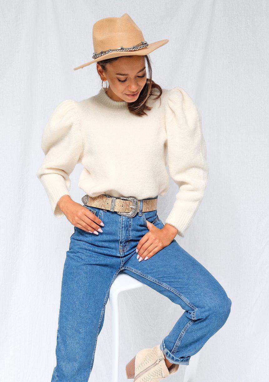 Kremowy sweter z bufkami ILM