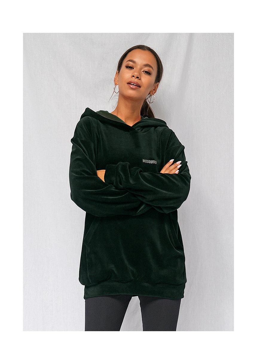 Welurowa bluza z kapturem unisex ILM zielona
