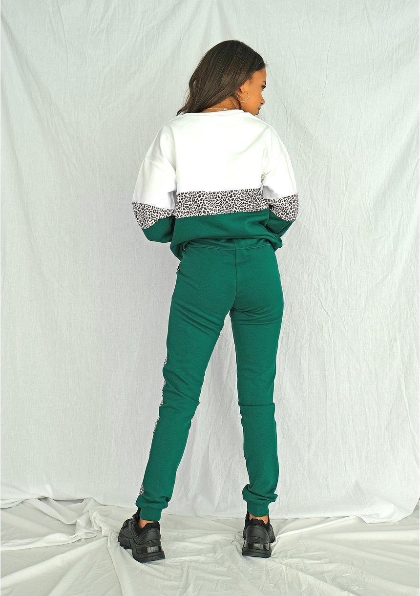 Bluza ze wstawką w cętki zielona ILM