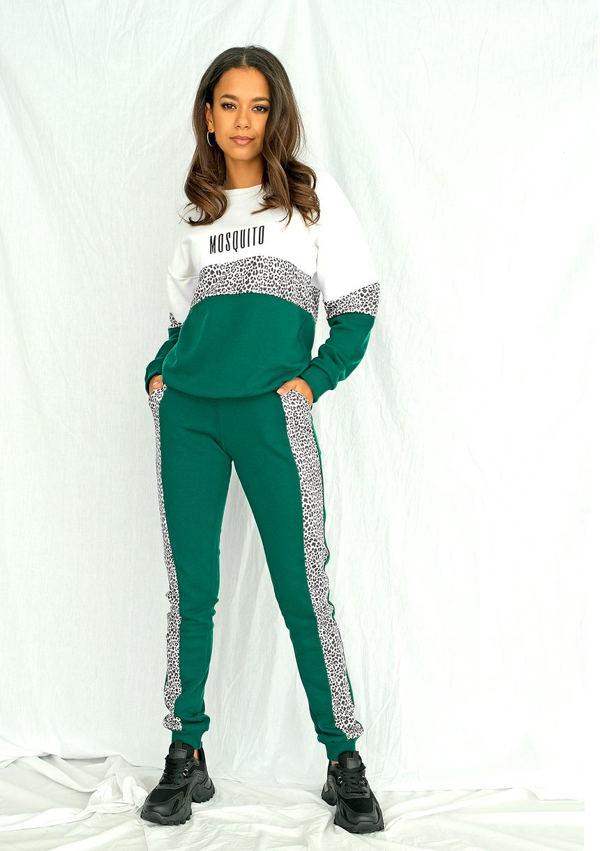 Spodnie ze wstawką w cętki zielone ILM