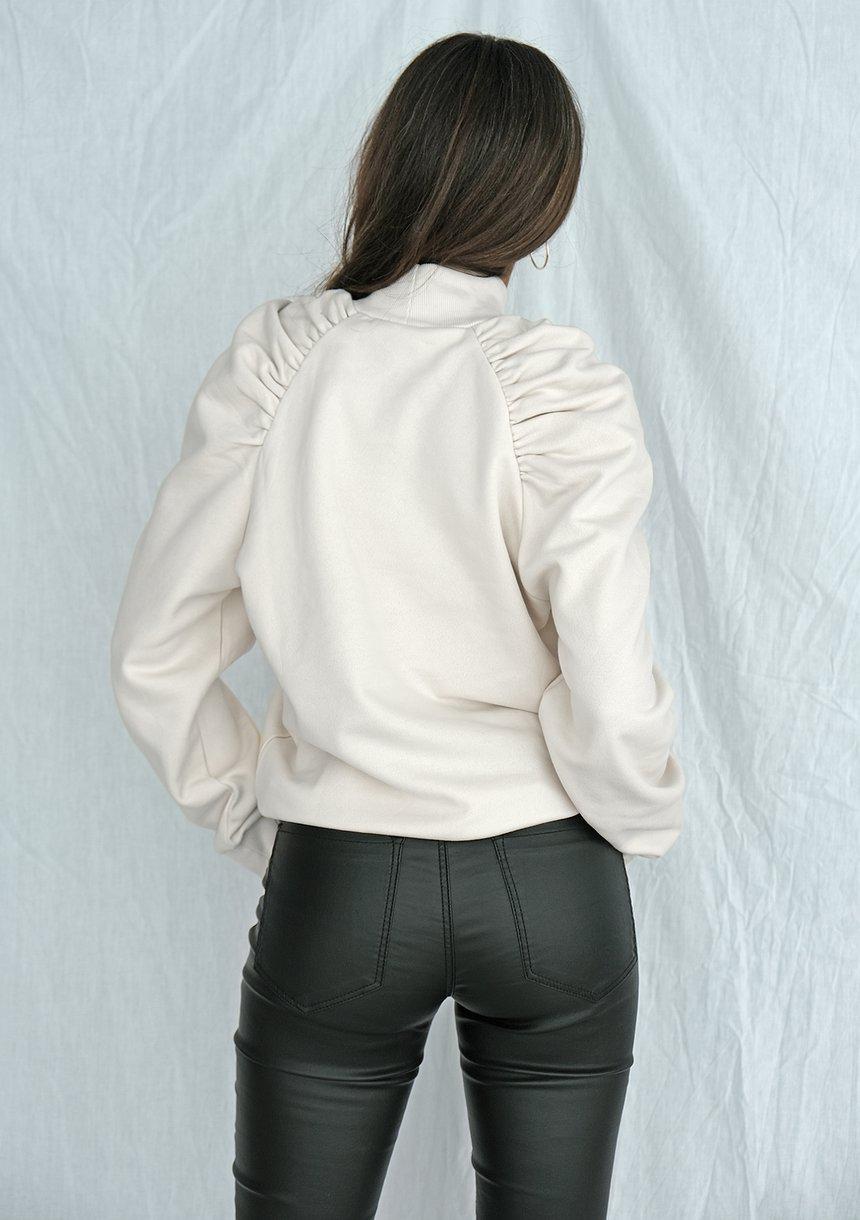 Bluza z półgolfem i rękawem z bufką ecrue