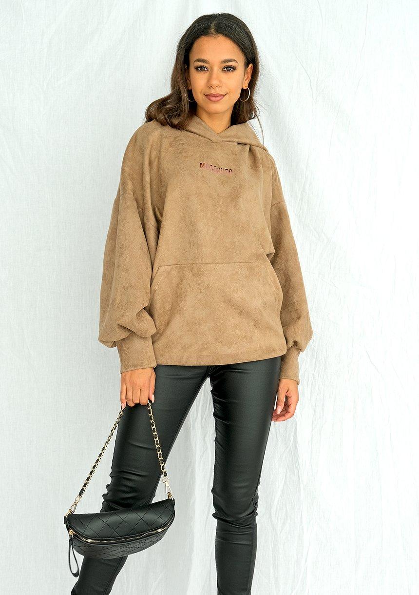 Bluza z kapturem imitacja zamszu beżowa