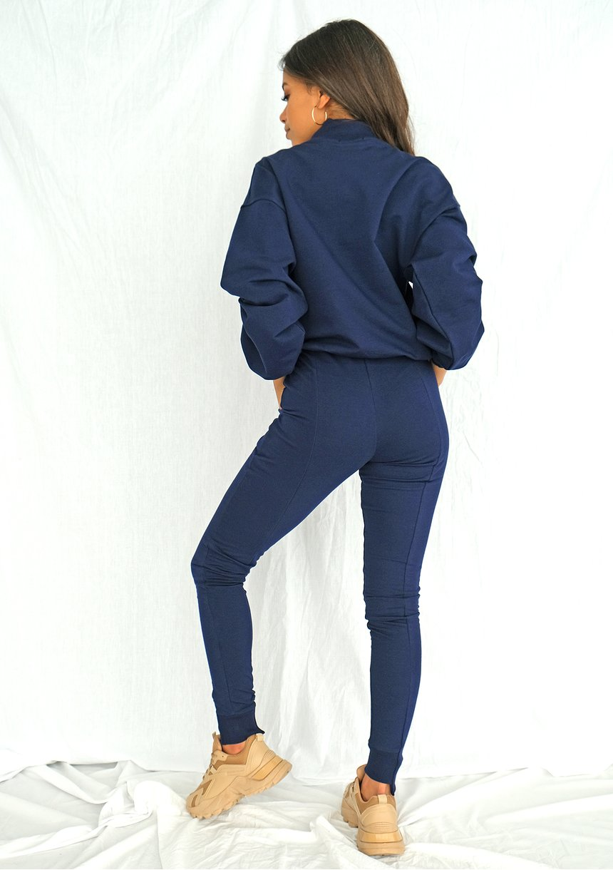 Spodnie bawełniane z asymetrią Navy ILM