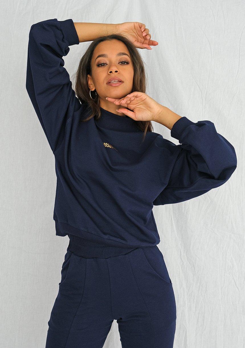 Bluza bawełniana z pógolfem ILM Navy
