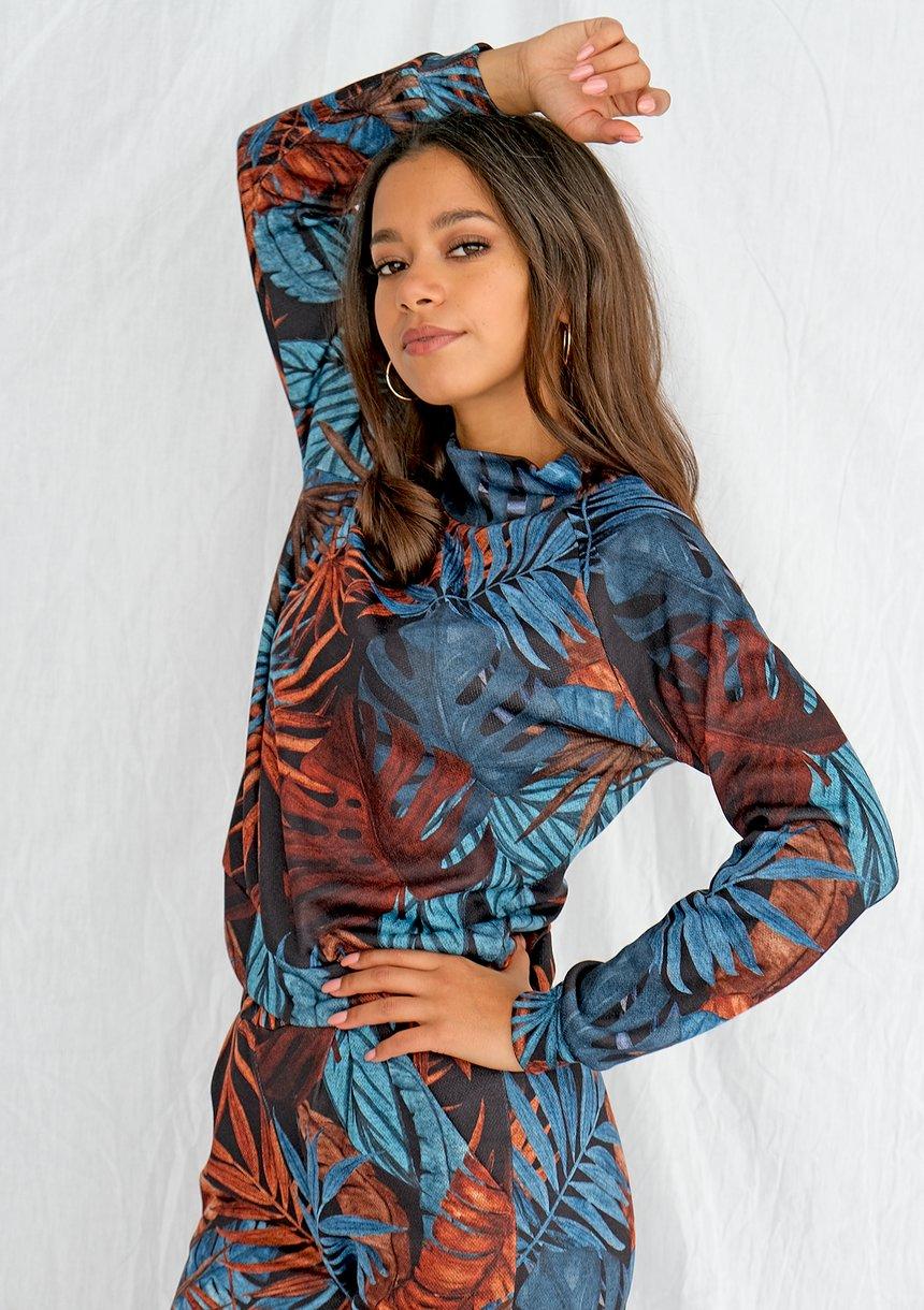 Reglanowa bluza z półgolfem print