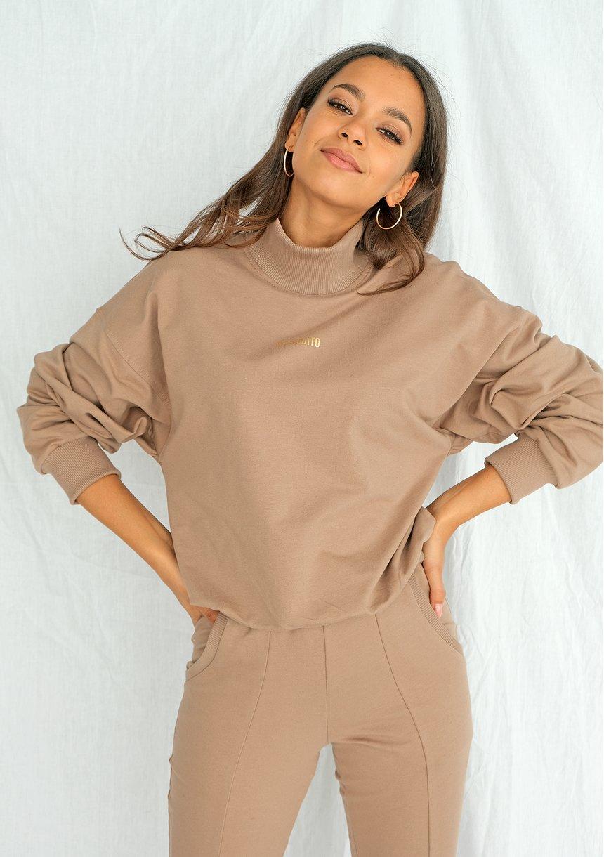 Bluza bawełniana z półgolfem coffe ILM