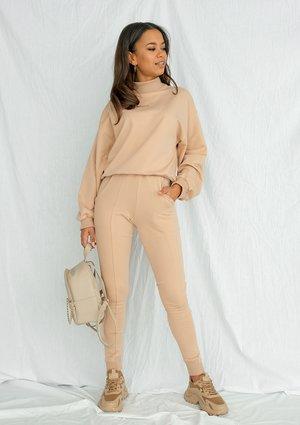 Spodnie bawełniane z asymetrią warm taupe ILM