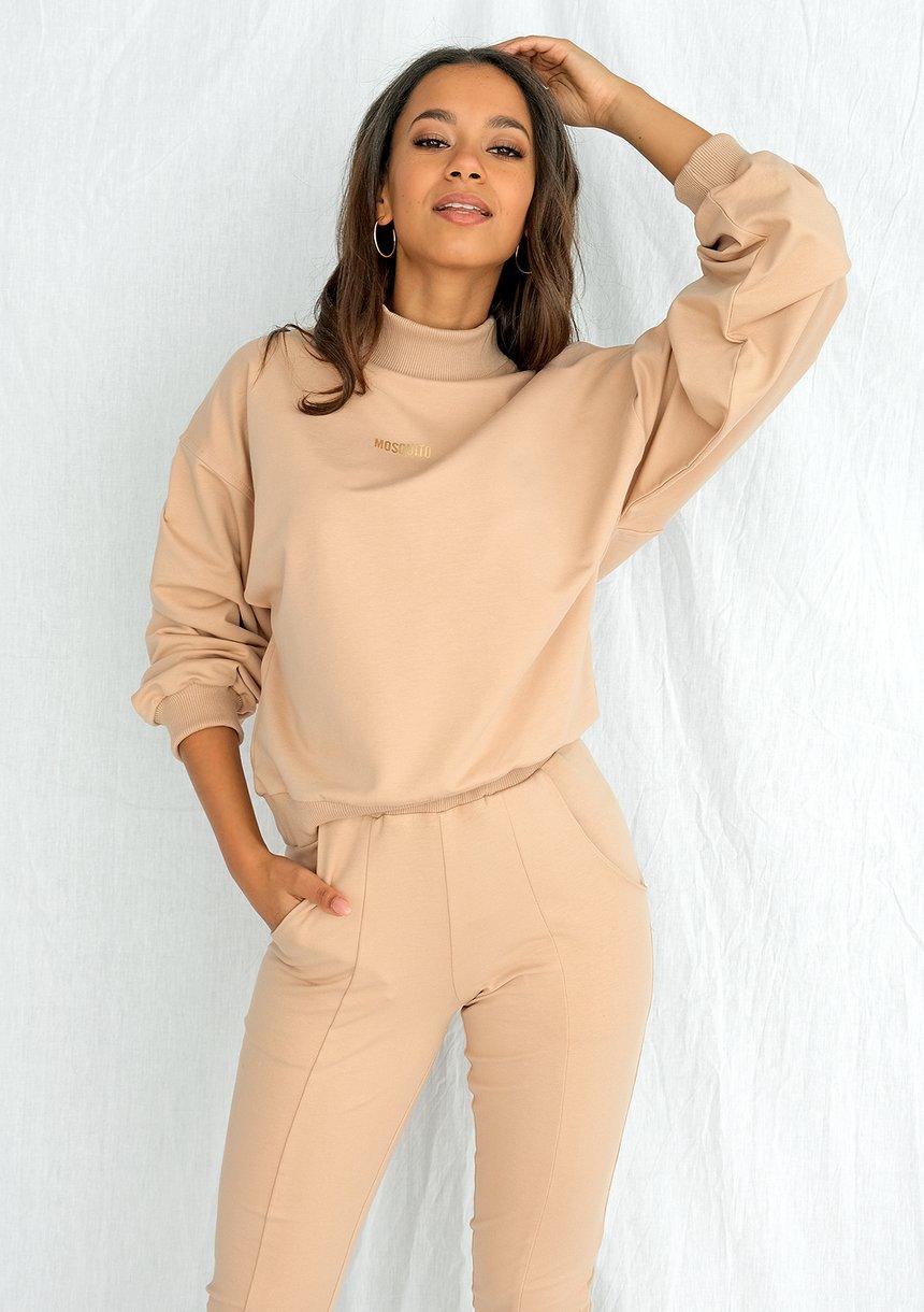 Bluza bawełniana z półgolfem warm taupe ILM