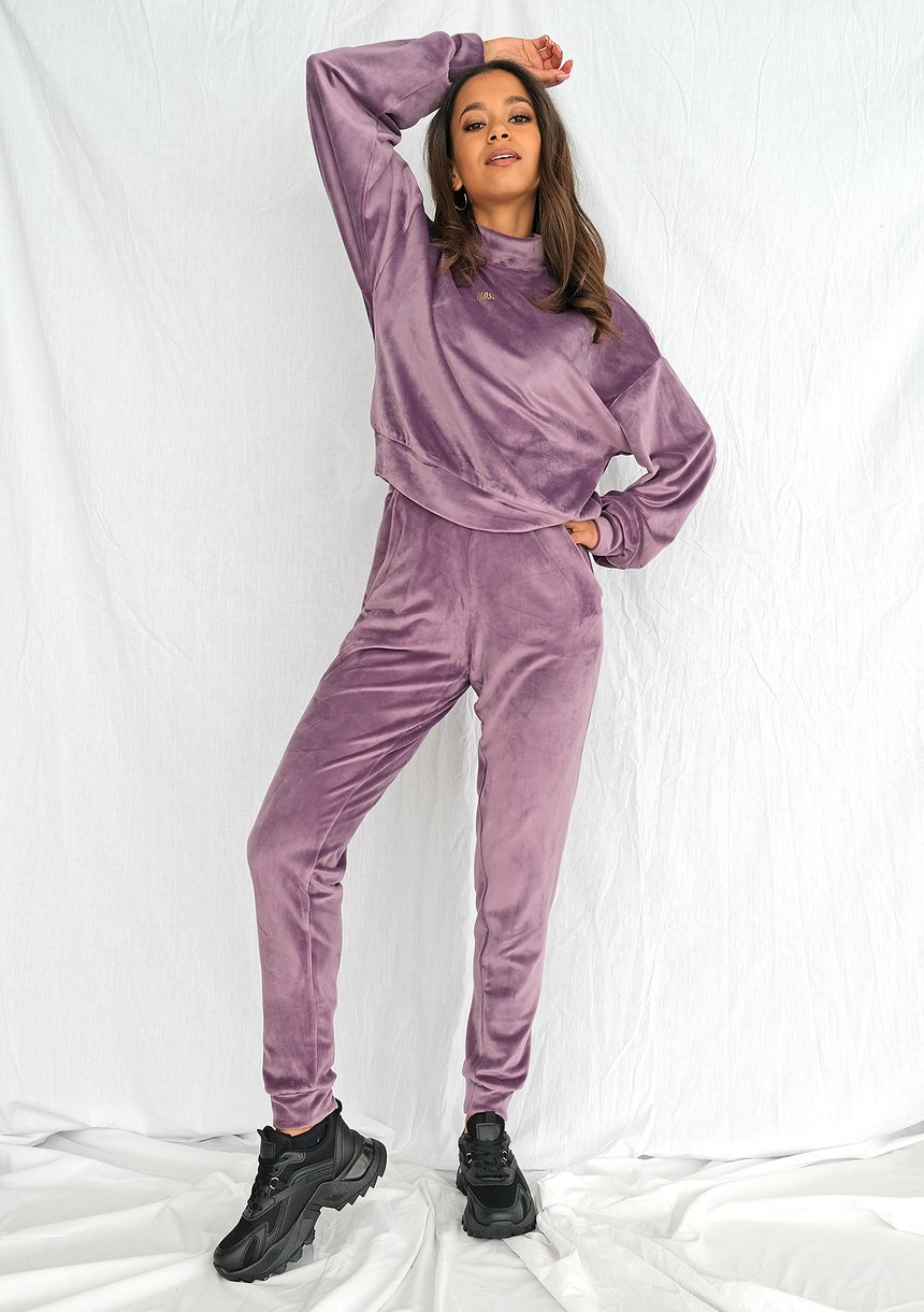 Spodnie soft velvet z półgolfem lavenda ILM