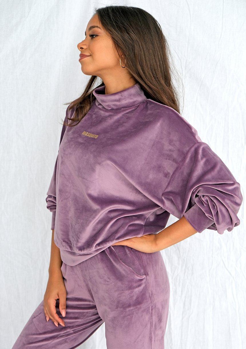 Bluza soft velvet z półgolfem lavenda ILM