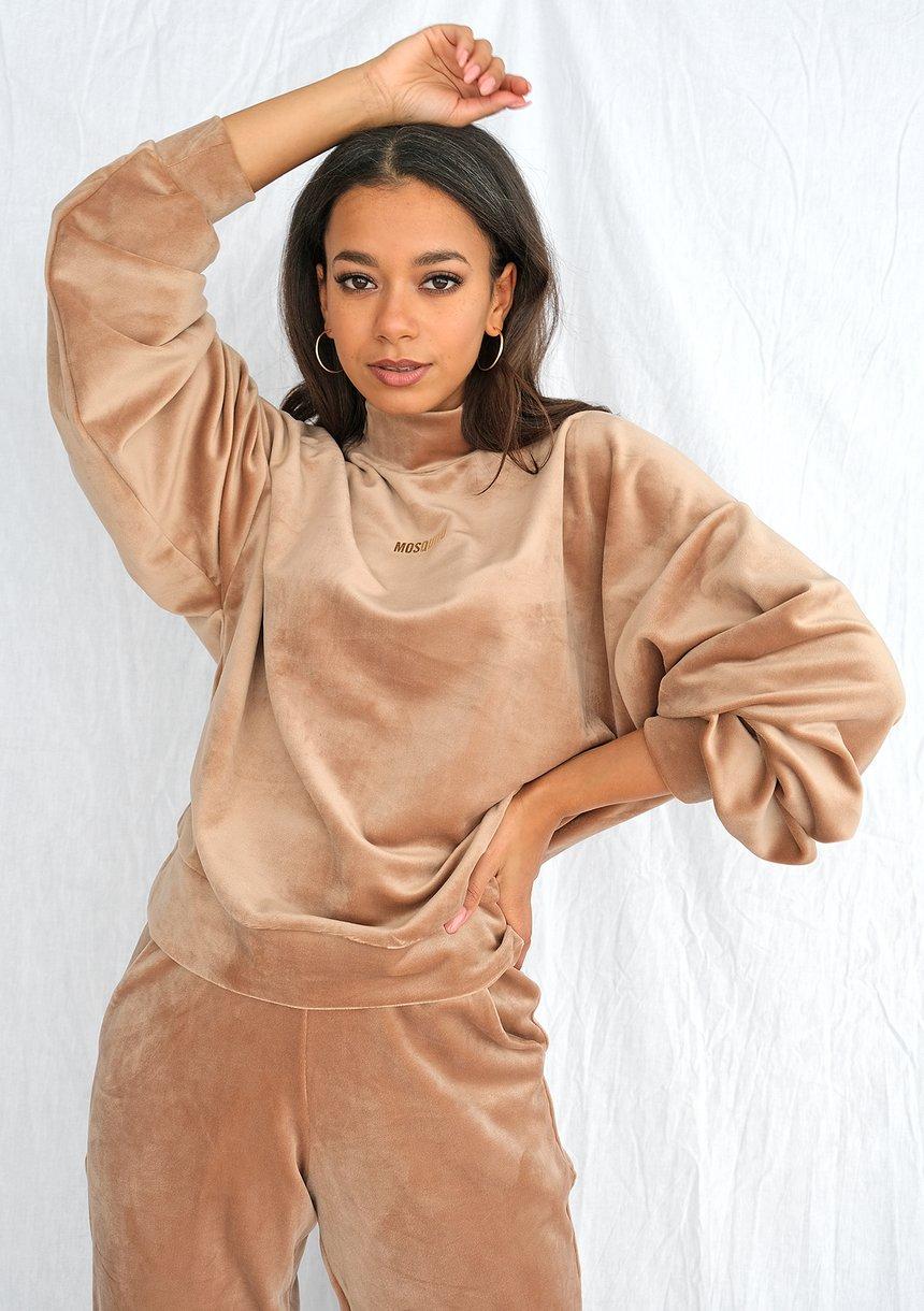 Bluza soft velvet z półgolfem taupe ILM