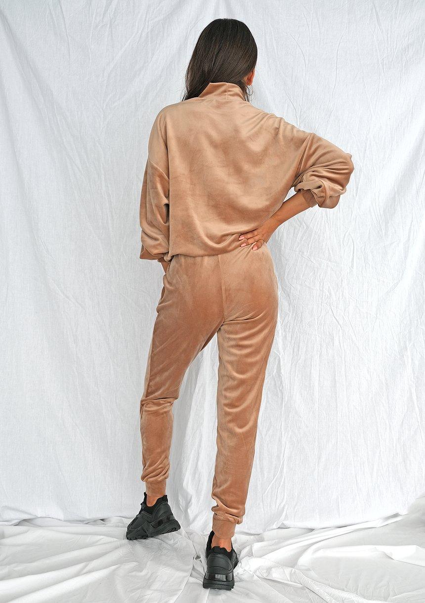 Spodnie soft velvet taupe ILM