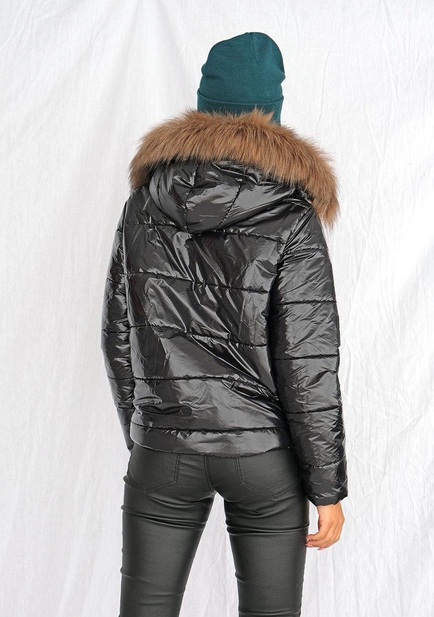 Kurtka pikowana ze sztucznym futrem czarna ILM