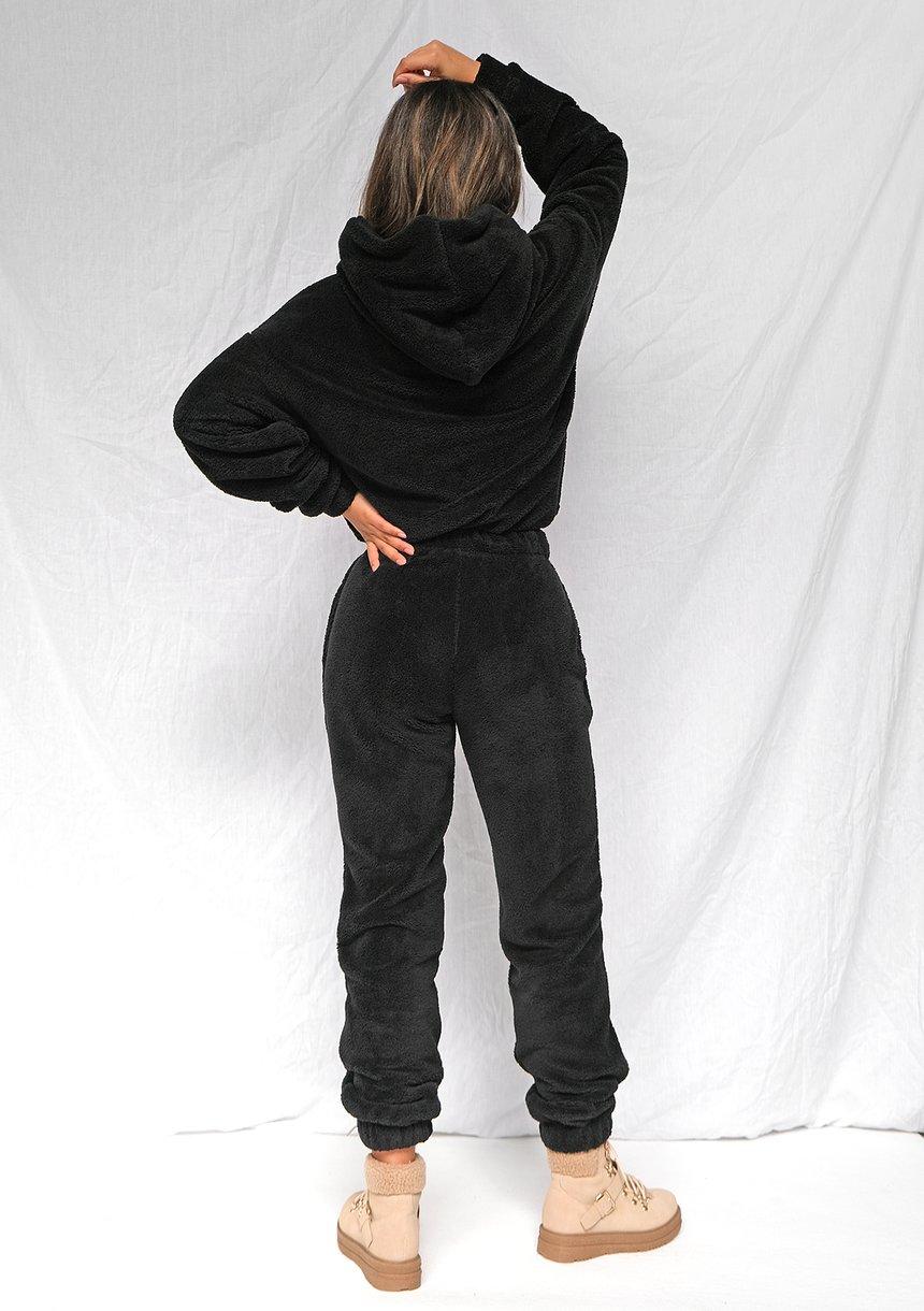 Spodnie dresowe z dzianiny Teddy Czarne ILM