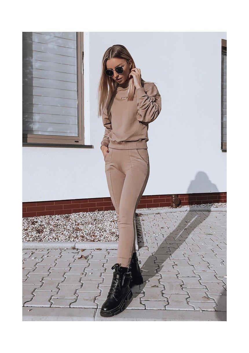 Spodnie bawełniane z asymetrycznym ściągaczem coffe ILM