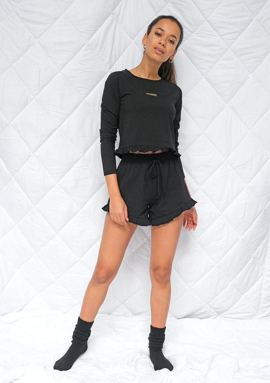 Piżama z szortami frills Czarna