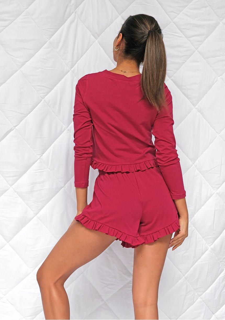 Piżama z szortami frills Bordowa