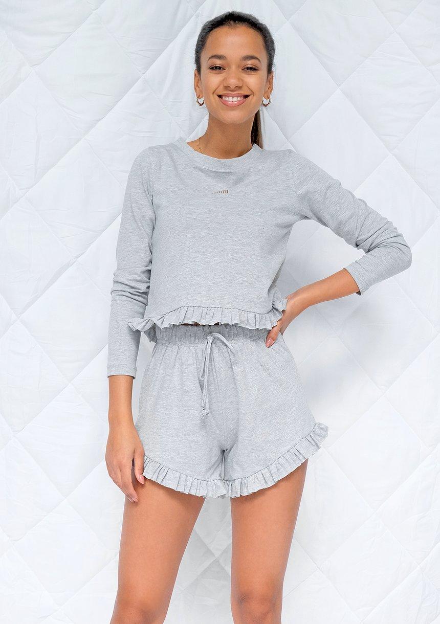 Piżama z szortami frills Szara