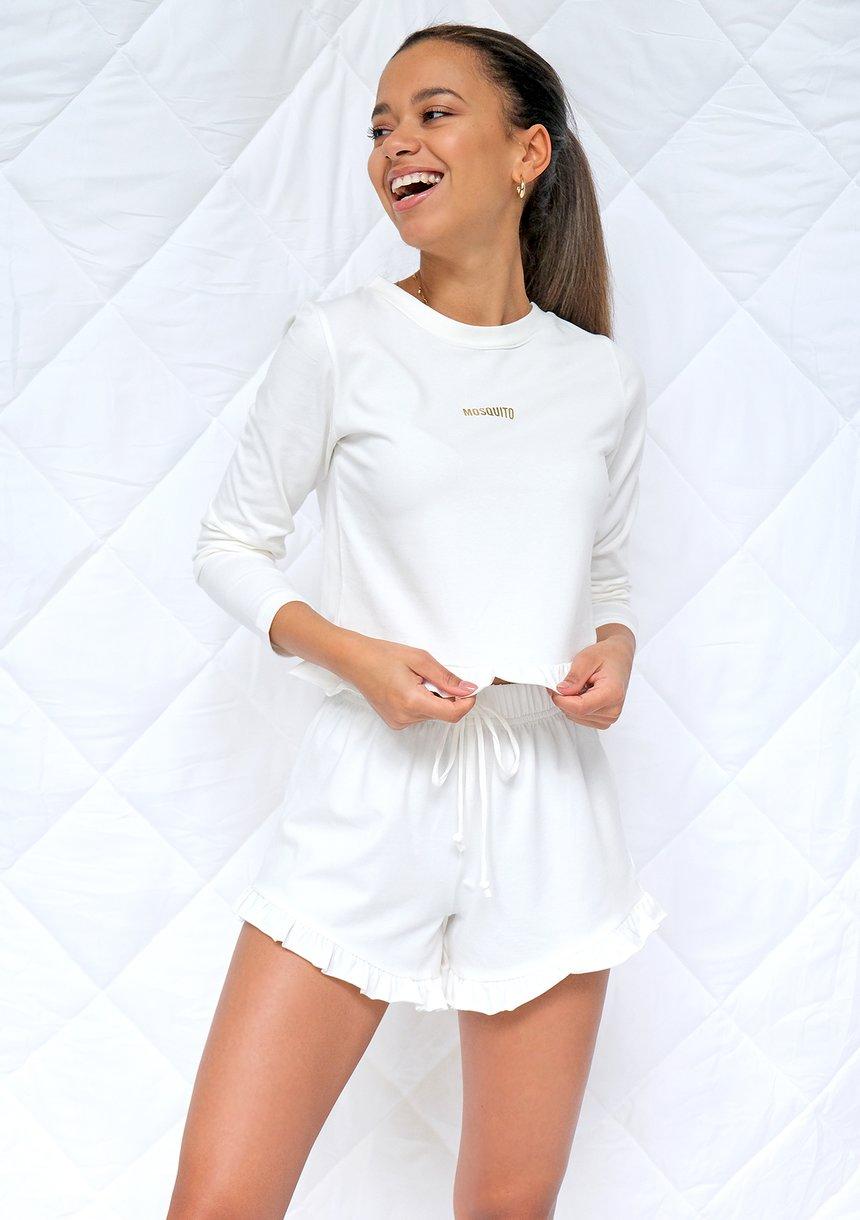 Komplet piżamowy z szortami frills Kremowy