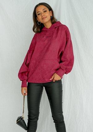 Bluza damska z kapturem imitacja zamszu Bordo