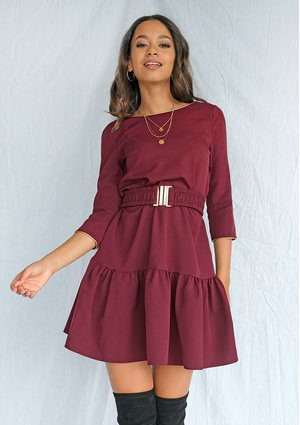 Burgundy A line dress with frill