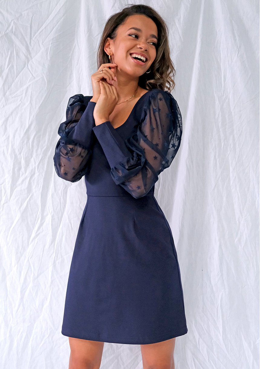 Sukienka z rękawem w gwiazdki Granatowa