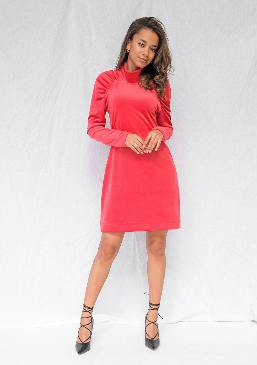 Sukienka z półgolfem Velvet Czerwona ILM