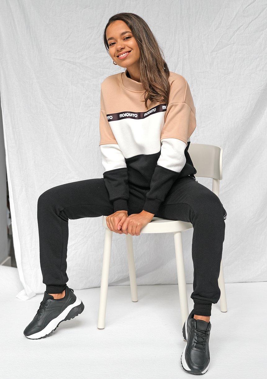 Bluza dresowa z lampasem logo Taupe ILM