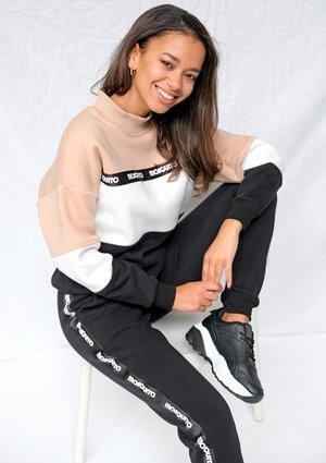 Bluza dresowa z lampasem logo Taupe