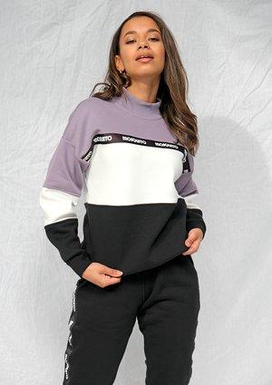 Bluza dresowa z lampasem logo Lawenda