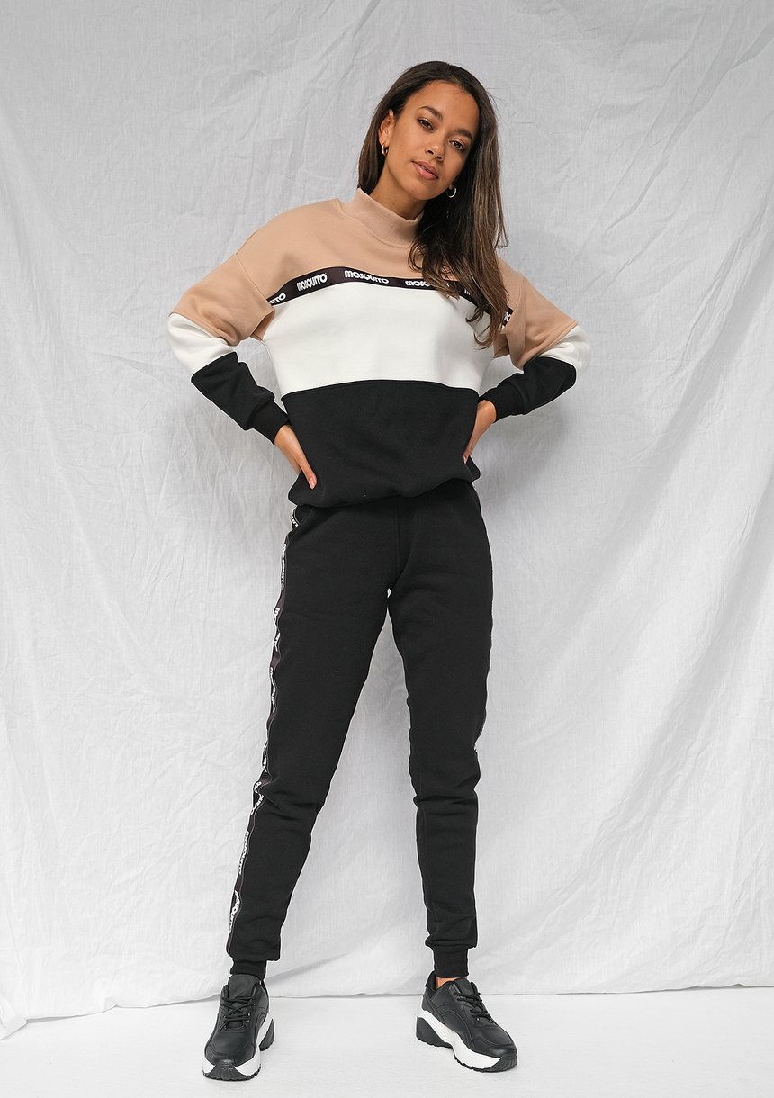 Dresowe spodnie z lampasami logo Czarne