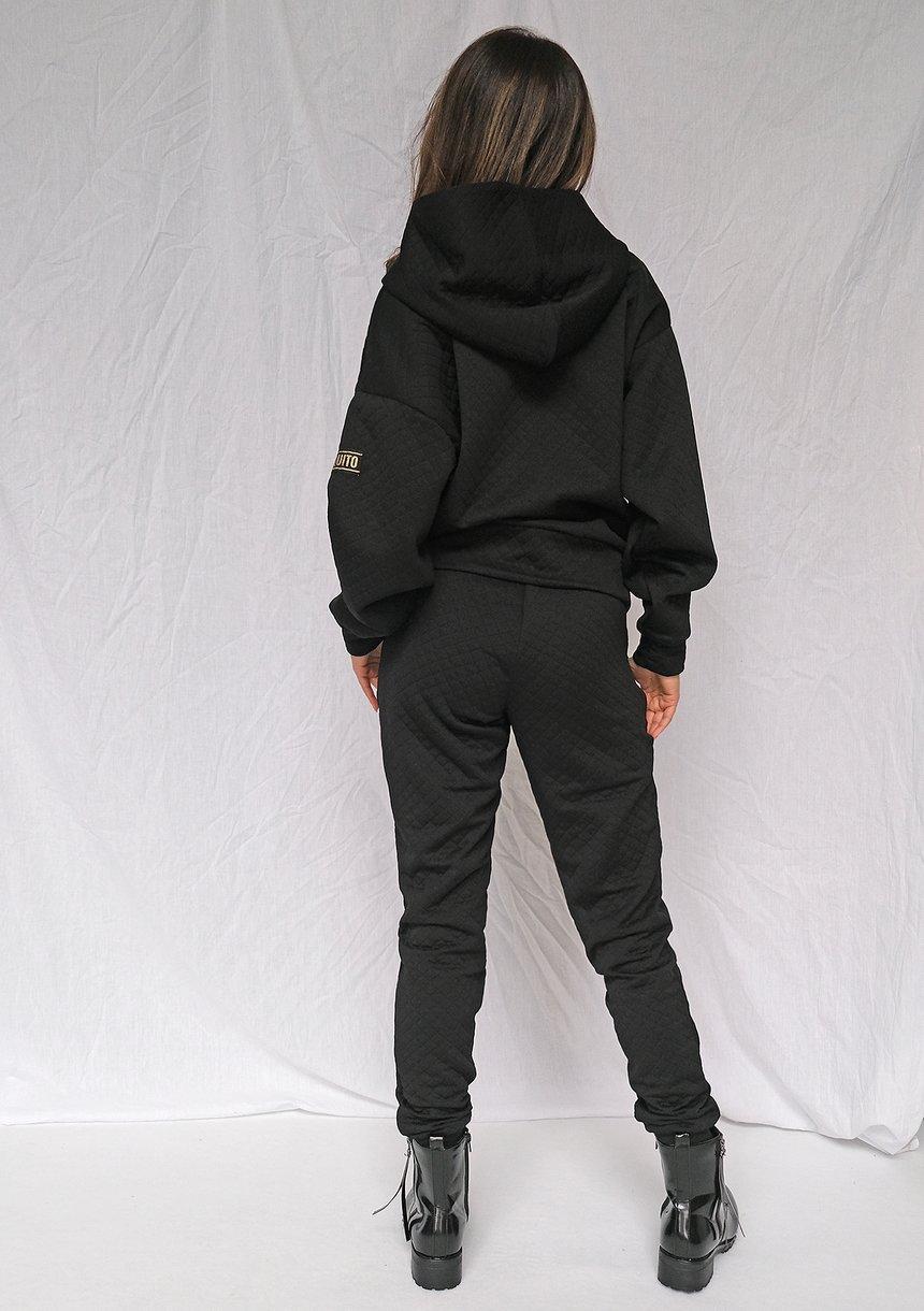 Spodnie z pikowanej dzianiny Czarne