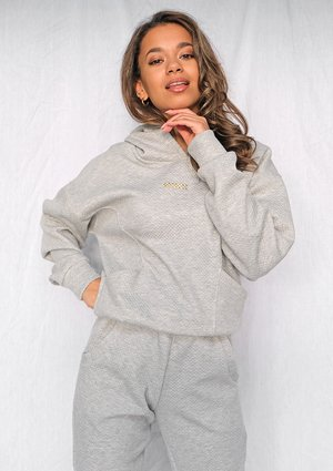 Grey quilted cotton hoodie