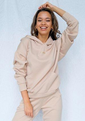 Beige quilted cotton hoodie