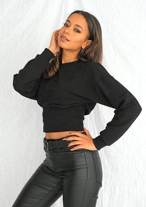 Black cropped sweatshirt ILM